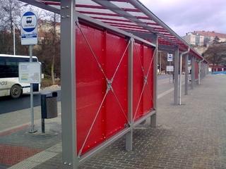 Busbahnhof in M.Krumlov  Pulver-beschichtung Zink-grudiert und RAL